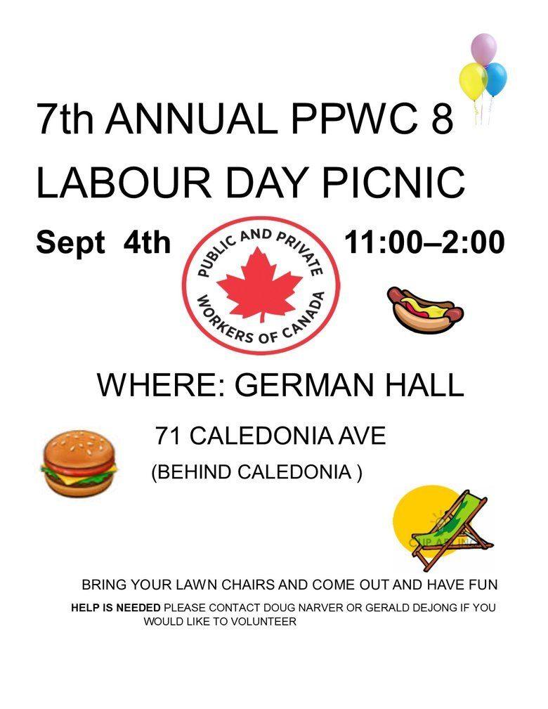 PPWC Local 8 Labour Day at German Hall @ German Hall | Nanaimo | British Columbia | Canada